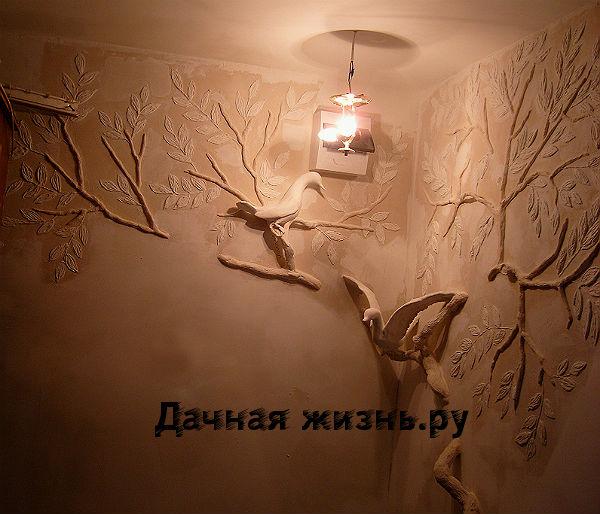 Лепнина на стене своими руками из затирки