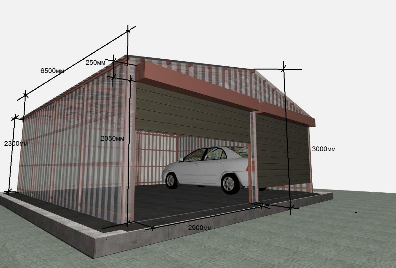 Проект гаража из блоков sketchup