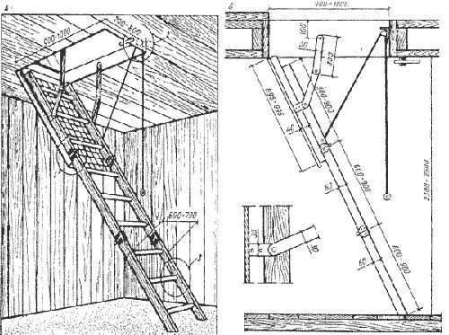 Чердачная лестница своими руками чертежи